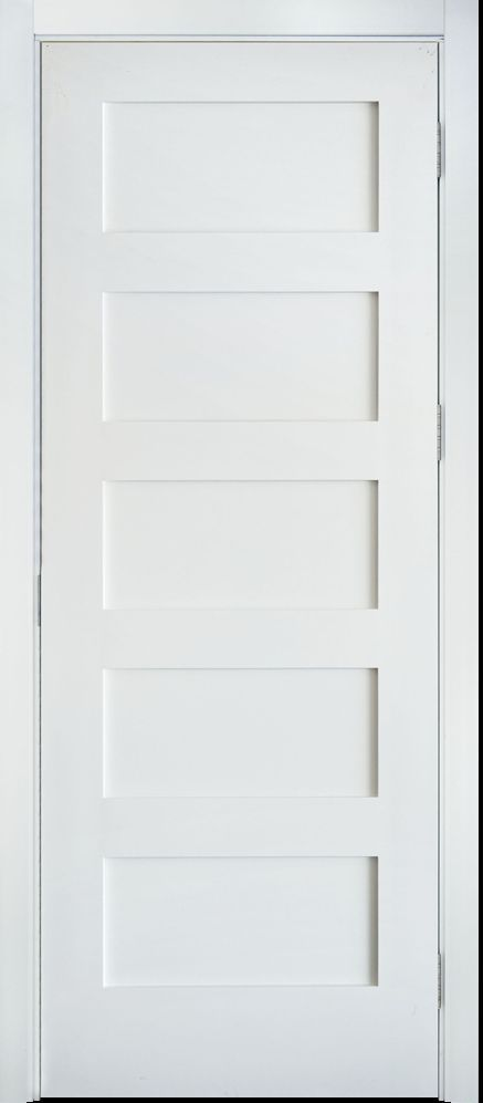 Primed white 5 panel solid core shaker mission style for 18 inch interior door white