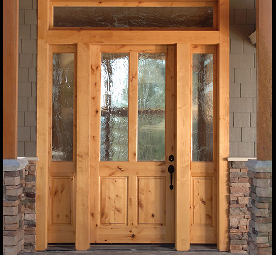 Knotty alder 2 lite craftsman entry door with sidelites ex for Doors and doors