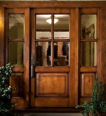 ksr vail style knotty alder 4 lite craftsman with sidelites ex 1213 - Single Exterior Doors