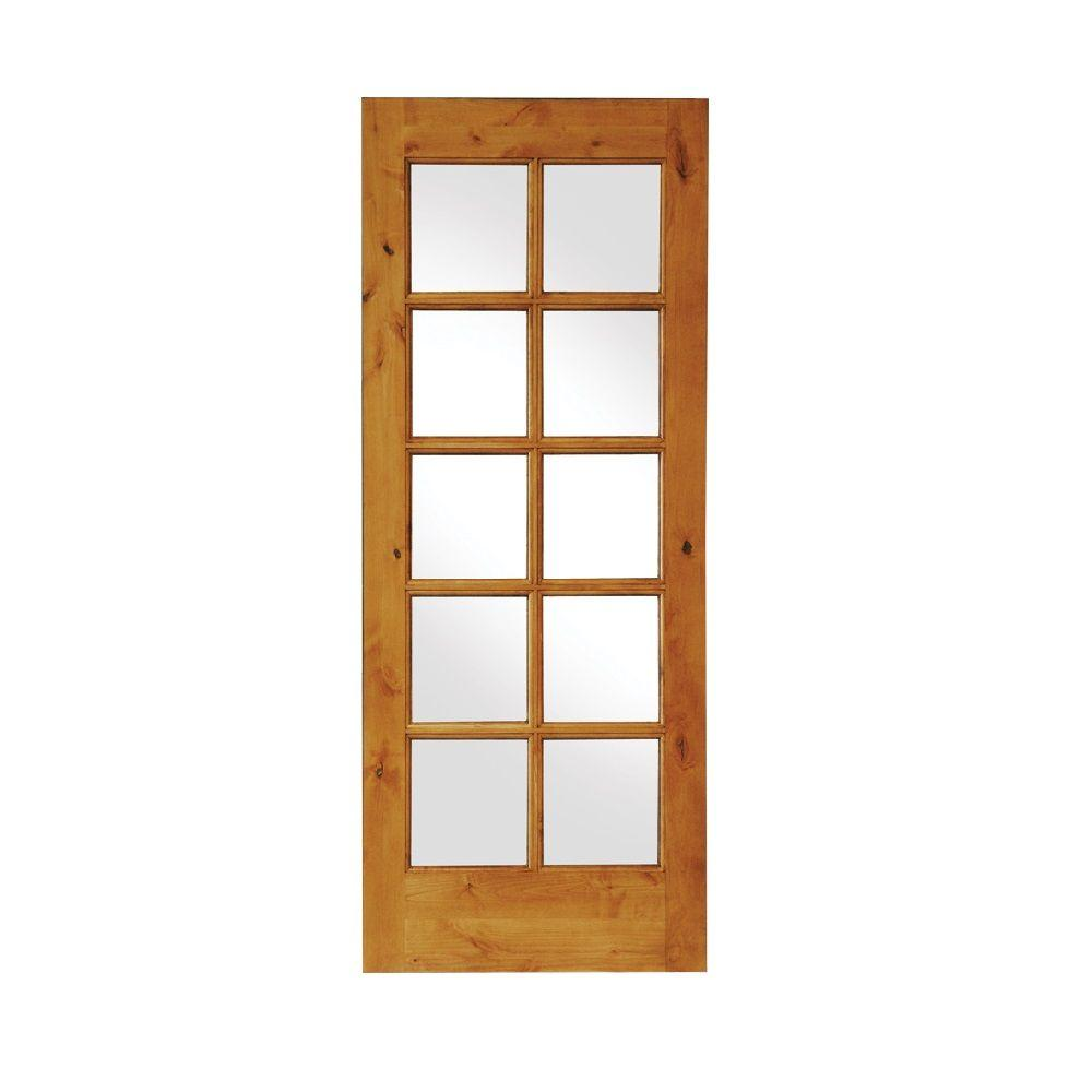 (2)KNOTTY ALDER 10 LITE INTERIOR FRENCH DOORS IN 1007