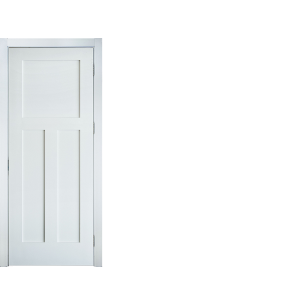 (2)PRIMED WHITE INTERIOR 3 PANEL CRAFTSMAN:SHAKER STYLE INTERIOR DOOR IN