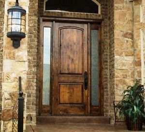 KSR TRADITIONAL WOOD KNOTTY ALDER ENTRY DOOR 36x 96 WITH MATCHING SIDELITES  EX1332