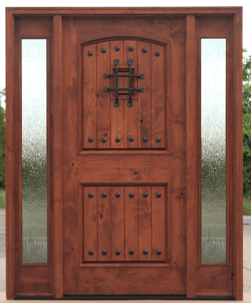 Tuscan arched top entry door with side lites ex 1336 ksr for Best entry doors