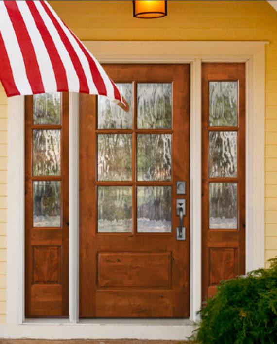 Knotty alder 6 lite cottage style entry door unit 36 39 x80 for 9 lite crossbuck exterior door