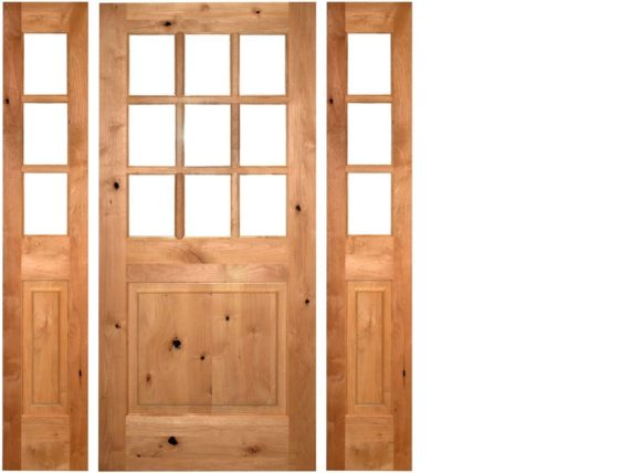 Cottage Door With Sidelights: KNOTTY ALDER 9-LITE COTTAGE STYLE ENTRY DOOR WITH