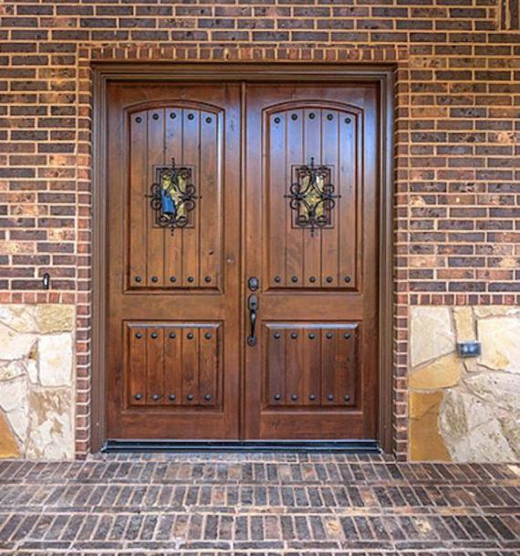 Knotty Alder Double Entry Door Arch Top 6ft X 8ft Ex 1341