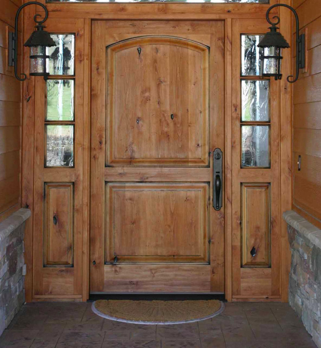 knotty alder entry door w 3 lite side lites ex-1337