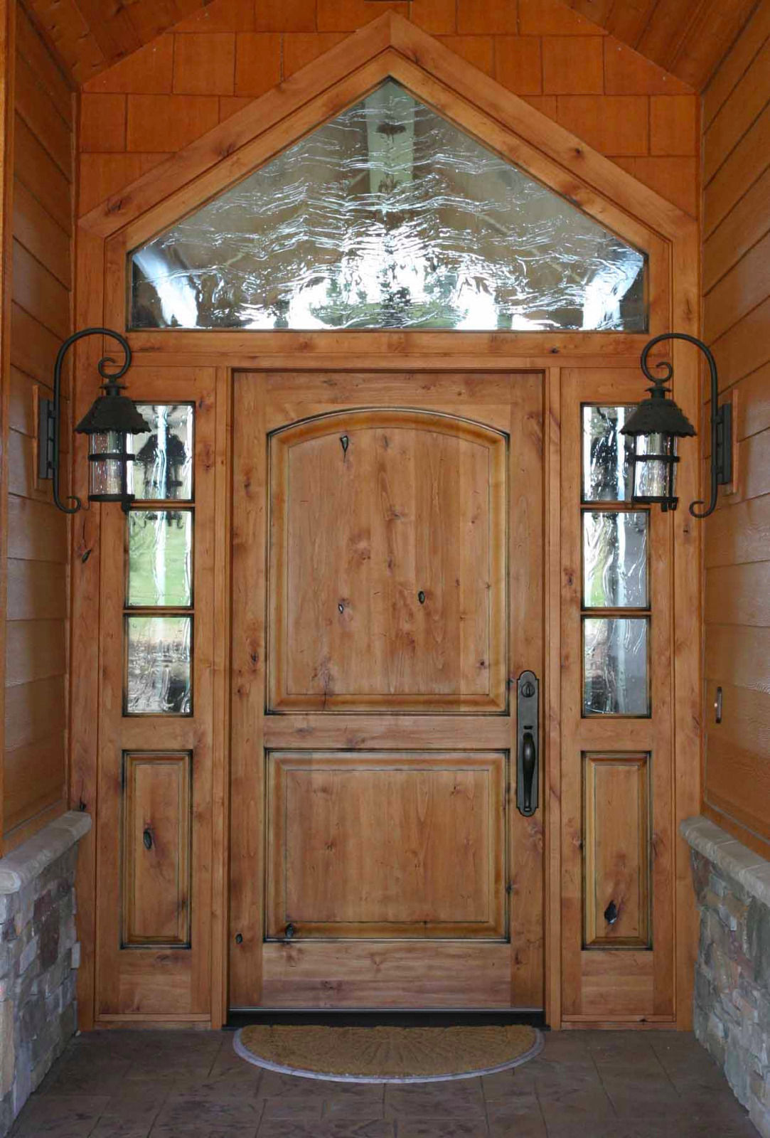 Merveilleux KNOTTY ALDER ENTRY DOOR W 3 LITE SIDE LITES  3